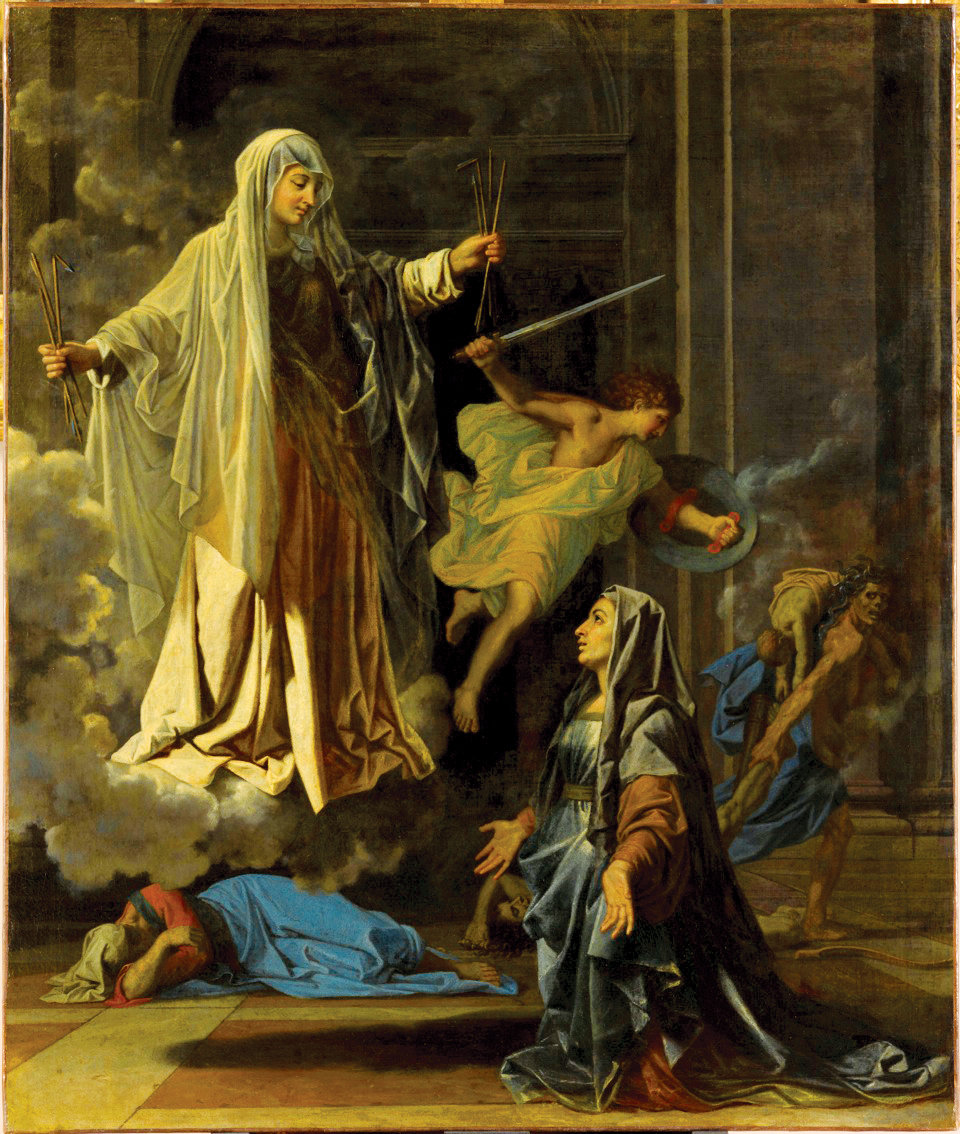 SAINTLY INTERCESSOR—Saint Francesca of Rome Announcing the End of the Plague in Rome, 1657 Oil on canvas by Nicolas Poussin, 121 x 102 cm. Location: Musée du Louvre, Paris, France. Photo by Stéphane Maréchalle, courtesy of RMN-Grand Palais / Art Resource, NY.