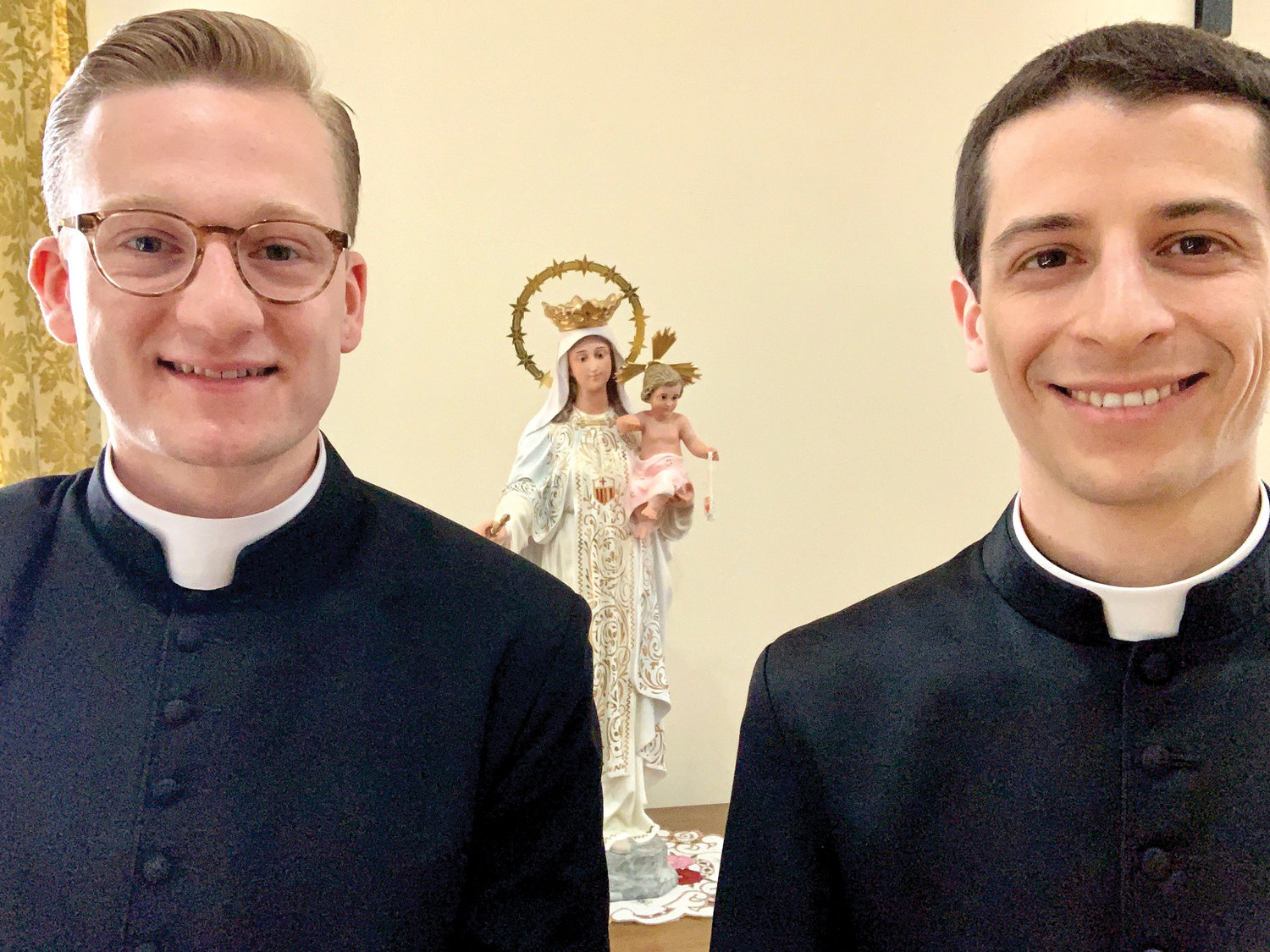 Father Michael Connolly, left, and Father Louis Masi are staying at an unoccupied retreat house while in isolation for the pastoral care mission to bring prayer and the sacraments to the sick and dying.