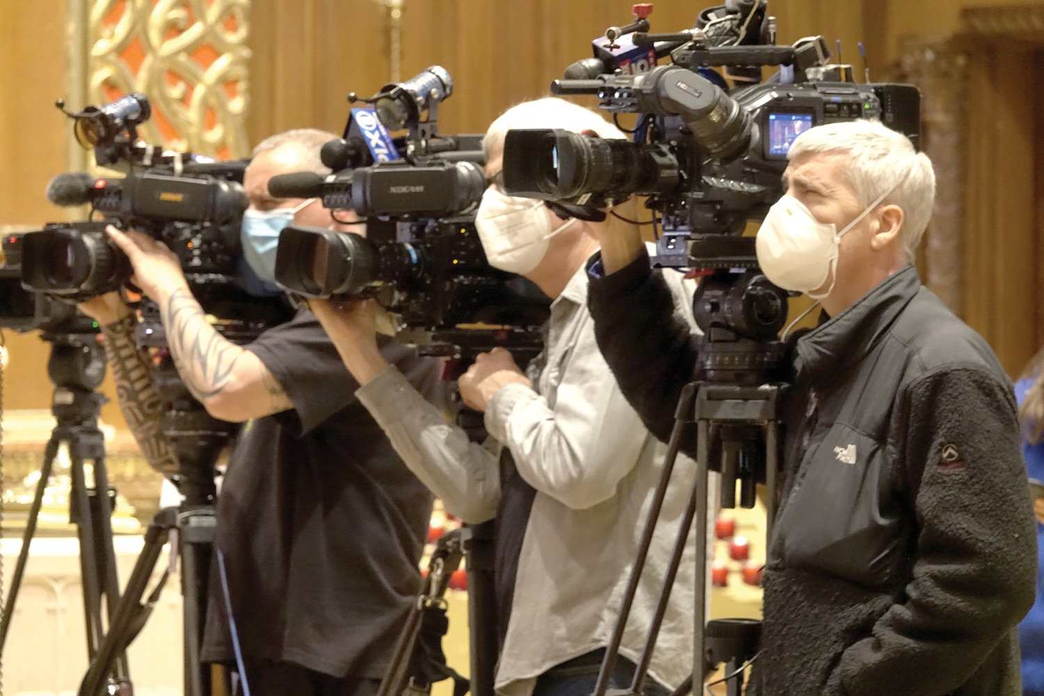 The Faith Forward reopening plan for the 288 parish churches in the archdiocese brought many television news cameras to Our Saviour Church on Park Avenue in Manhattan May 21.