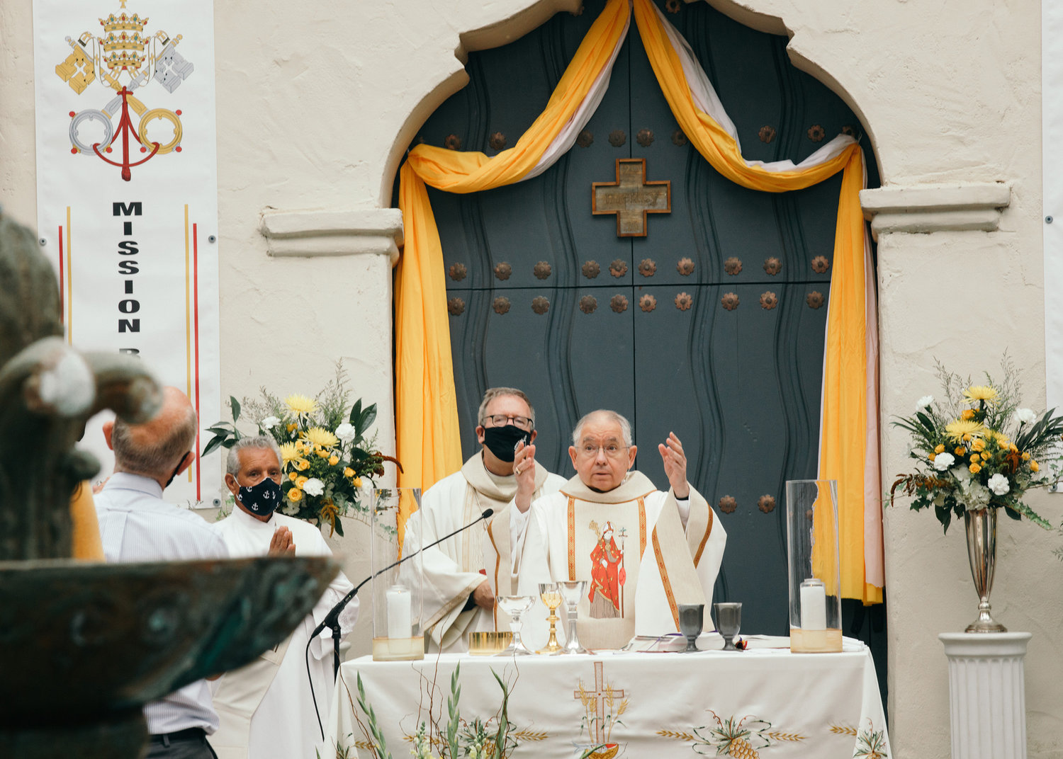 Archbishop Jose H. Gomez of Los Angeles, president of the U.S. Conference of Catholic Bishops, celebrates Mass at the new Mission Basilica San Buenaventura in Ventura, Calif., July 15.