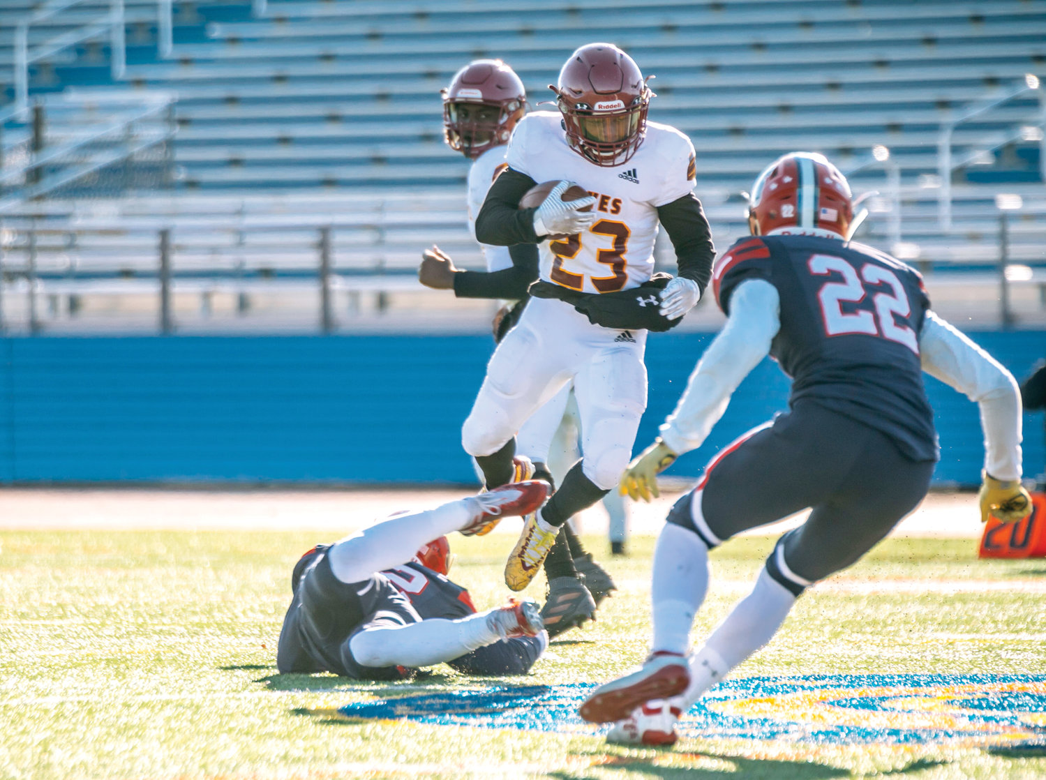 ON THE MOVE—Cardinal Hayes senior Jalen Smith carries the football during his team's 25-7 Catholic High School Football League AAA championship victory over Archbishop Stepinac at Mitchel Field in Uniondale last November.