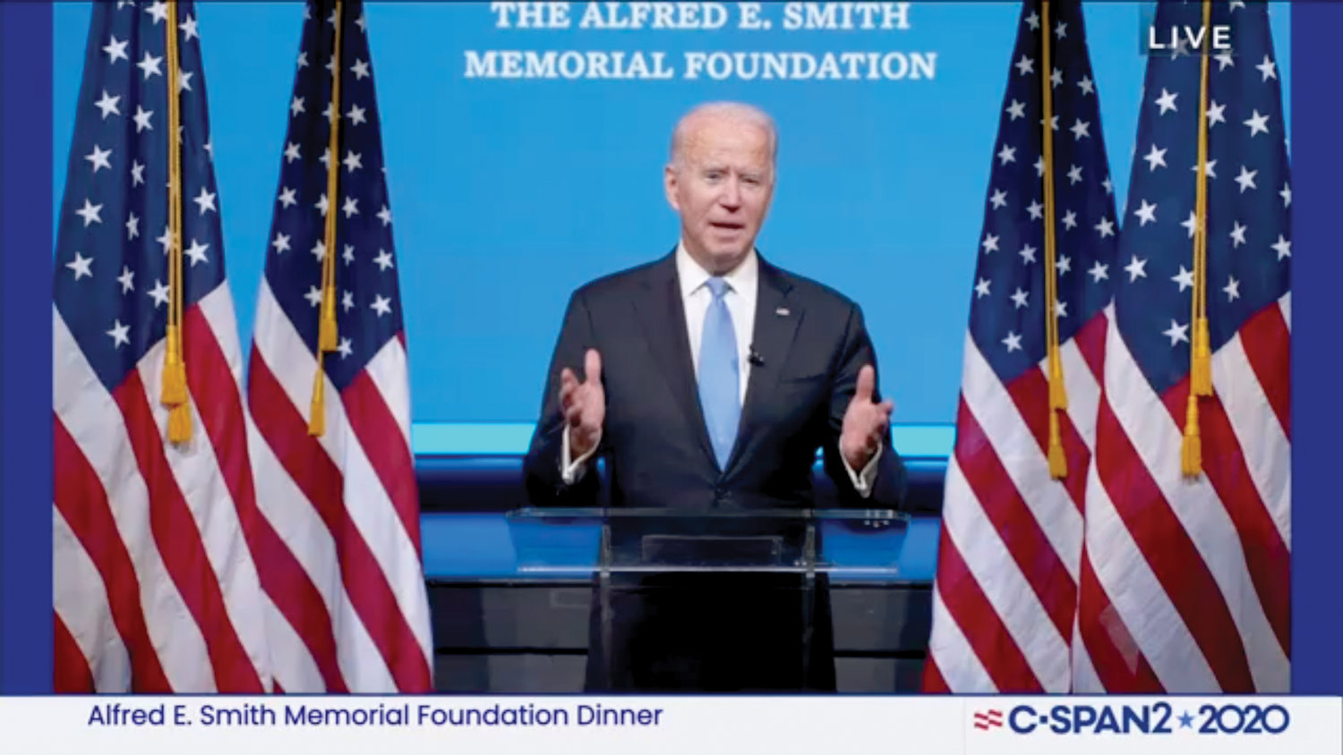 The 75th Annual Alfred E. Smith Memorial Foundation Dinner Virtual Event is livestreamed from the residence of Cardinal Dolan Oct. 1 due to the coronavirus pandemic. Remarks via recorded videos were delivered by President Donald J. Trump, and former Vice President Joseph R. Biden, the candidates in next month's presidential election.