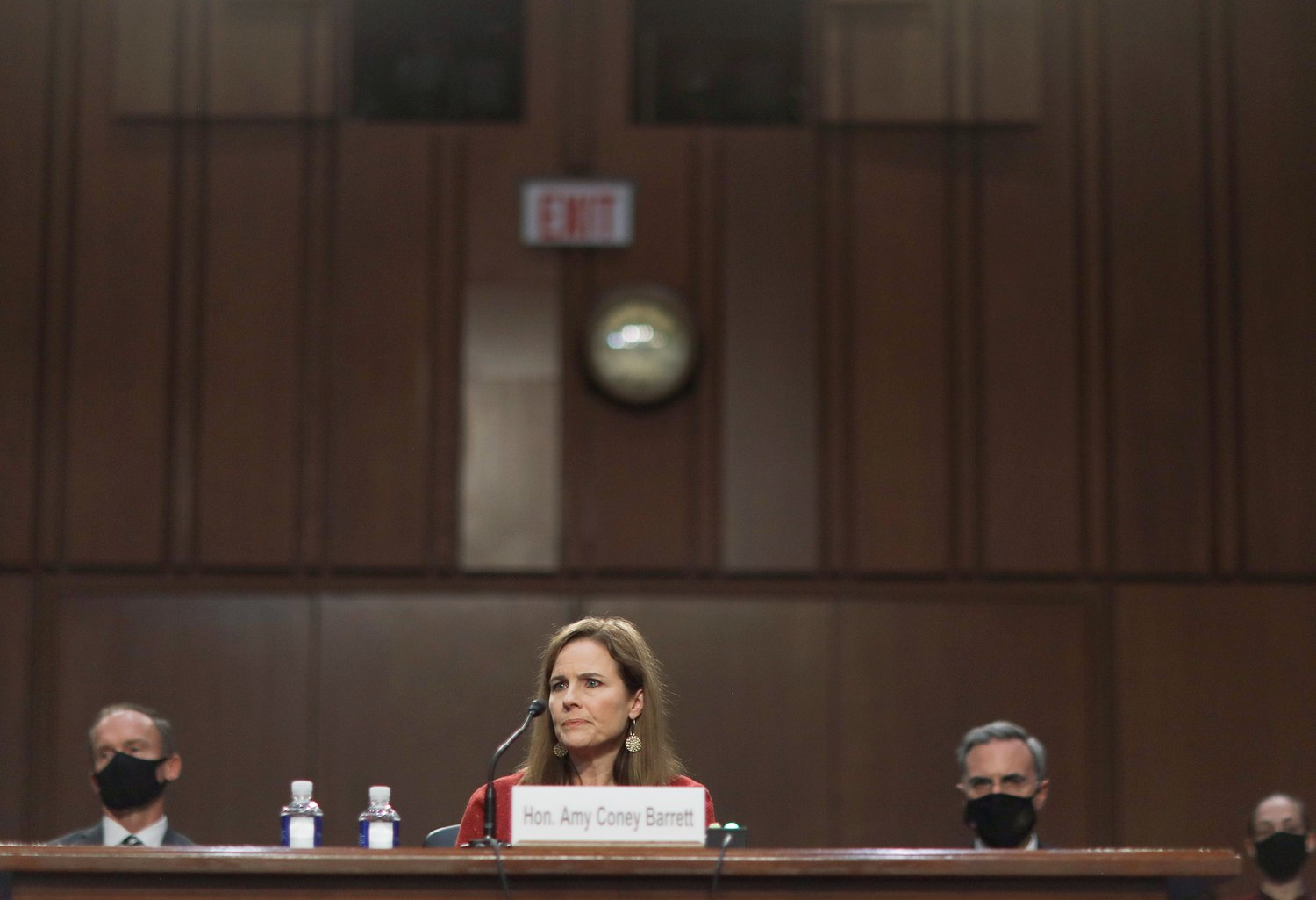 Judge Amy Coney Barrett of the U.S. Court of Appeals for the 7th Circuit, President Donald Trump's nominee for the U.S. Supreme Court, testifies during the second day of her confirmation hearing before the Senate Judiciary Committee on Capitol Hill in Washington, D.C. Oct. 13.