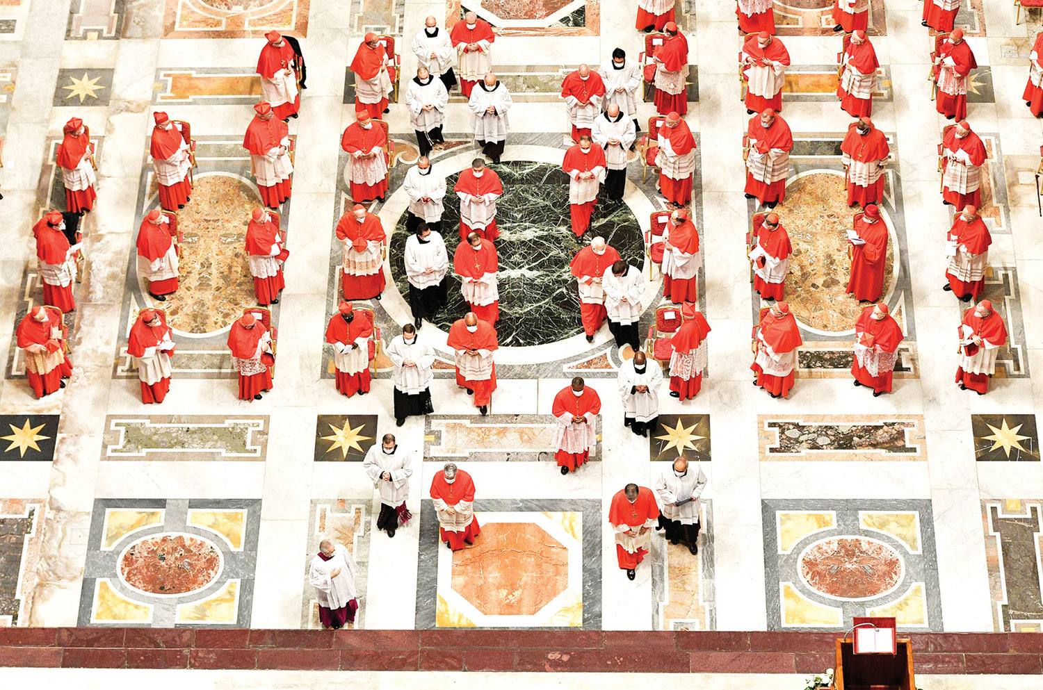 NEW CARDINALS—New cardinals arrive in procession at a consistory led by Pope Francis for the creation of 13 new cardinals in St. Peter's Basilica at the Vatican Nov. 28.