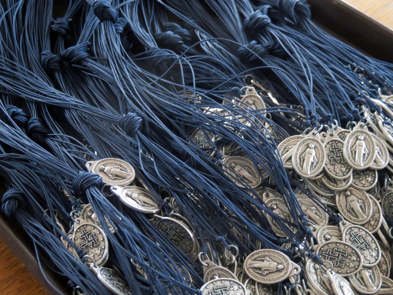 Hundreds of miraculous medals were among the gifts brought to Ethiopia.