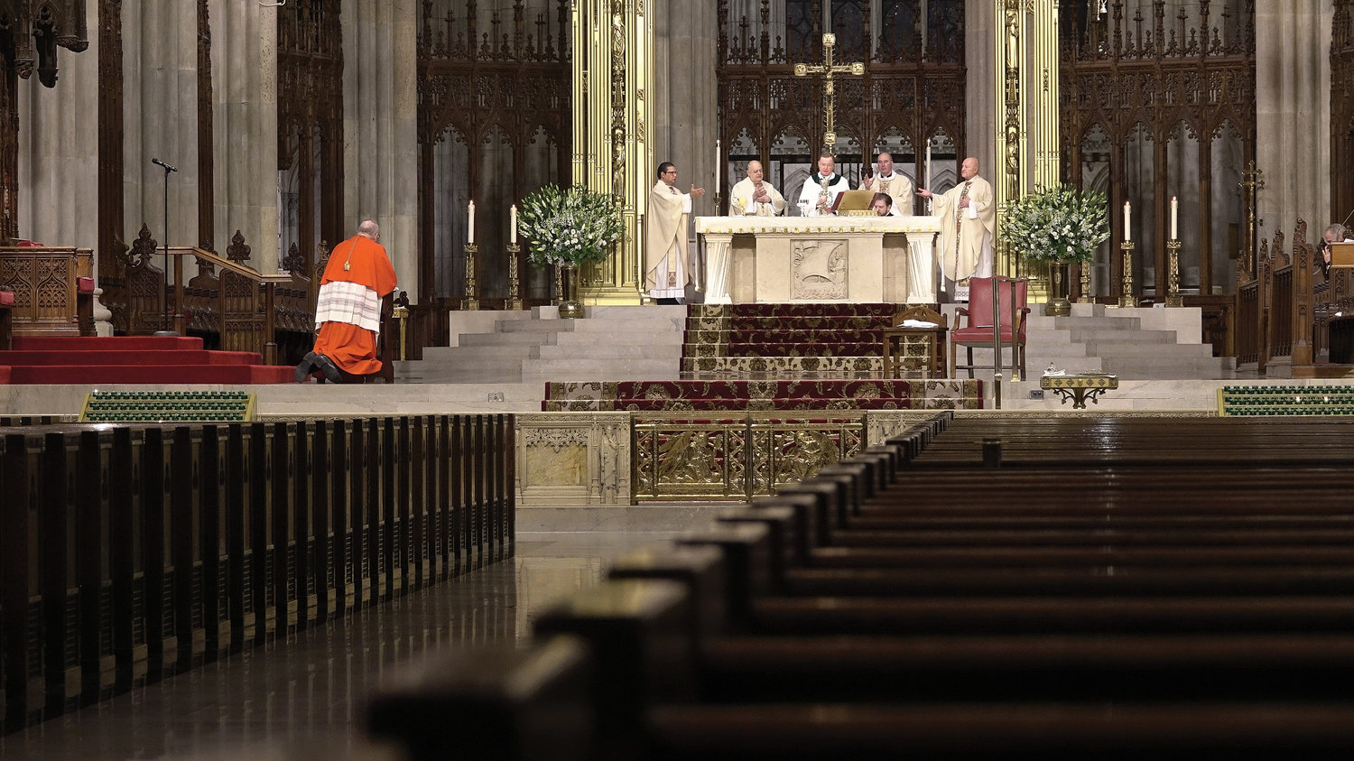 Except for clergy on the altar, St. Patrick's Cathedral was empty during the 2020 St. Patrick's Day Mass, which was offered as the Covid-19 pandemic was unfolding in New York. Cardinal Dolan will serve as celebrant for this year's St. Patrick's Day Mass at the cathedral Wednesday, March 17.