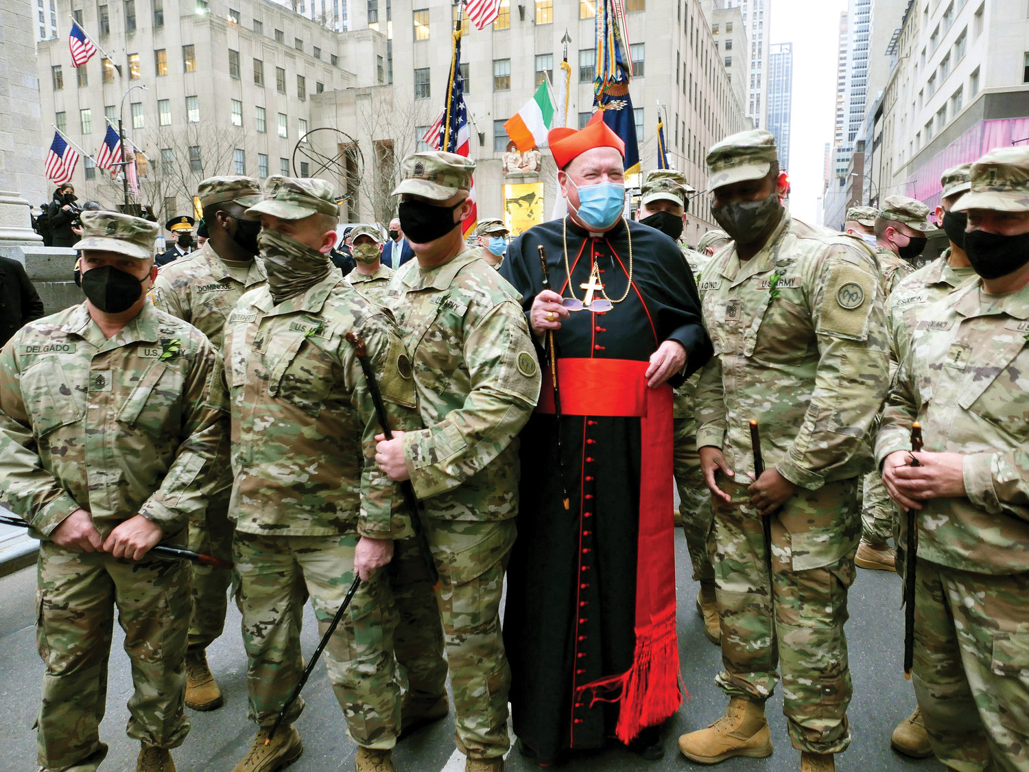 Before celebrating Mass for St. Patrick's Day, Cardinal Dolan greets members of the Fighting 69th Regiment outside St. Patrick's Cathedral March 17.