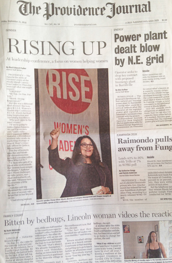 The front page of the Sept. 21 edition of The Providence Journal, which covered one event happening the day before on the fifth floor of the Providence Convention Center, but not the 2018 Health Equity Summit, which drew more people.