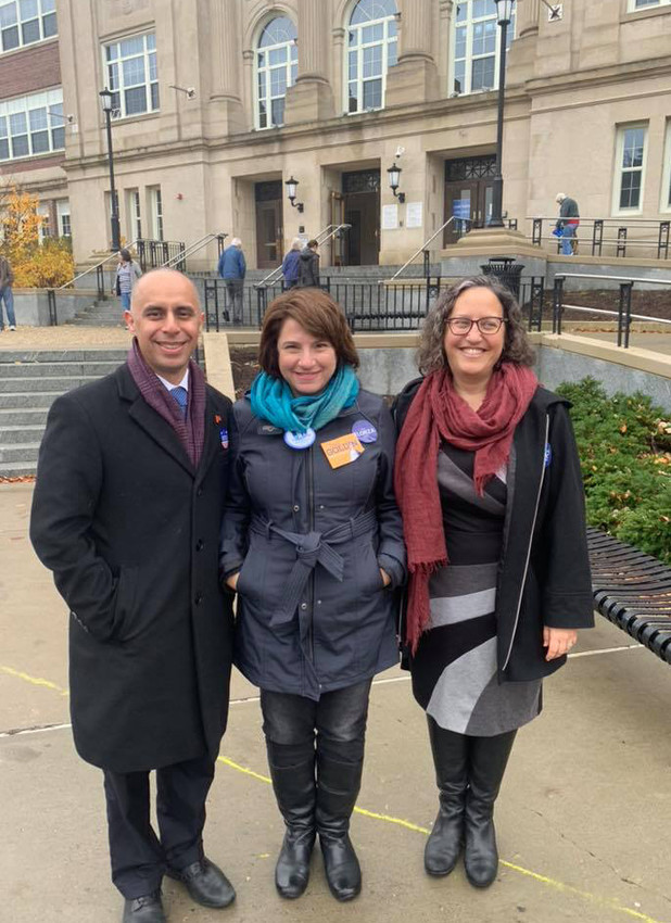 Providence Mayor Jorge Elorza, state Sen. Gayle Golden, and newly elected state Rep. Rebecca Kislak on election day.