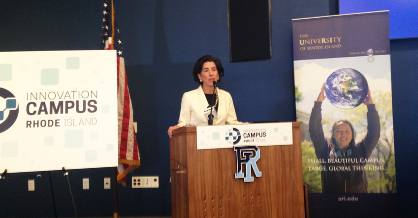 Gov. Gina Raimondo announces three new innovation campuses which will receive some $12 million in state investment, in partnership with URI.