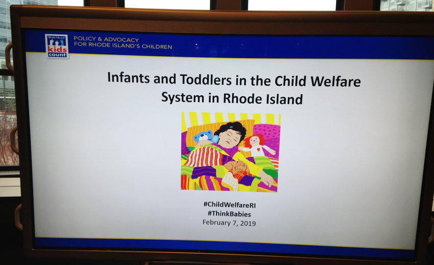 The opening slide on the big display screen at the Feb. 7, 2019, discussion on the new Issue Brief prepared by Rhode Island Kids Count.