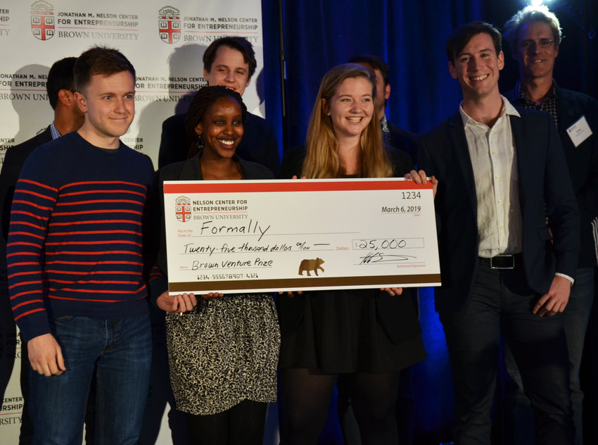 The entrepreneurial team for Formally won the first prize of $25,000 at the Brown Venture Prize Pitch Night on March 6.