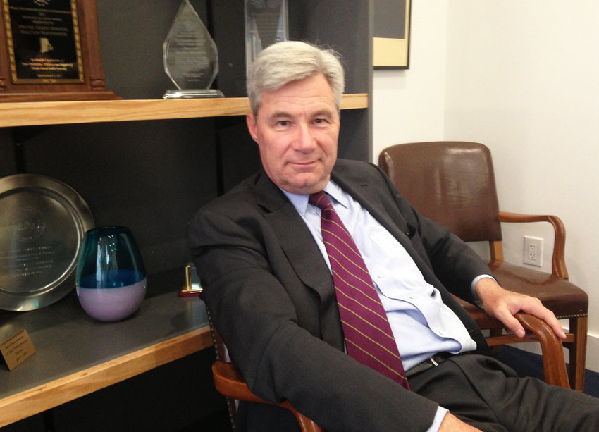 Sen. Sheldon Whitehouse in his Providence office in 2017.
