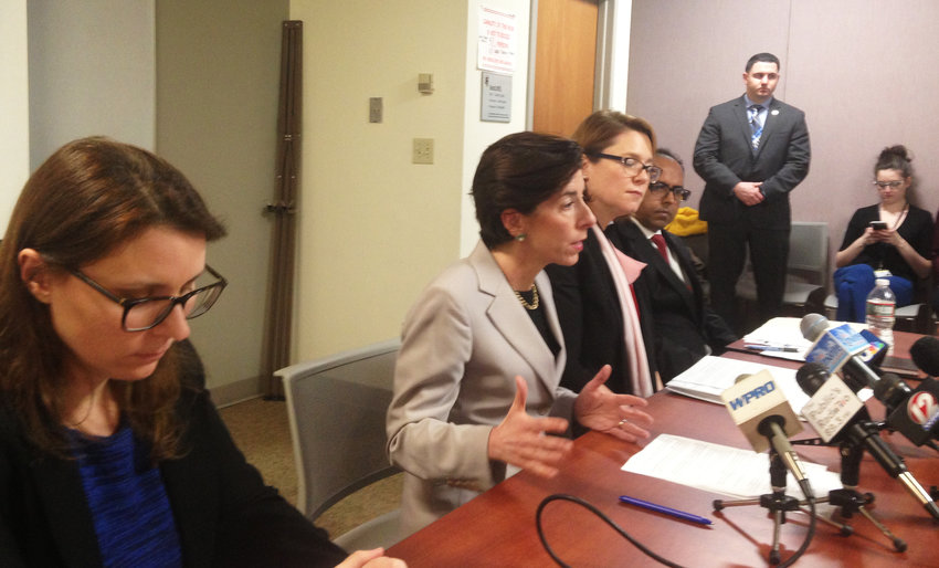 Gov. Gina Raimondo and her team explain the reasons behind the decision to renew the contract with Deloitte at a March 15 news conference.