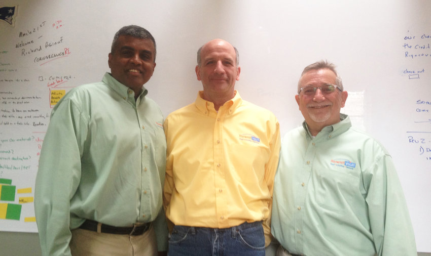 The corporate team at Transmit Vault: from left, Victor Kalimuthu, executive vice president; Chris Izzo, chief design officer; and Alan Roseman, executive vice president.