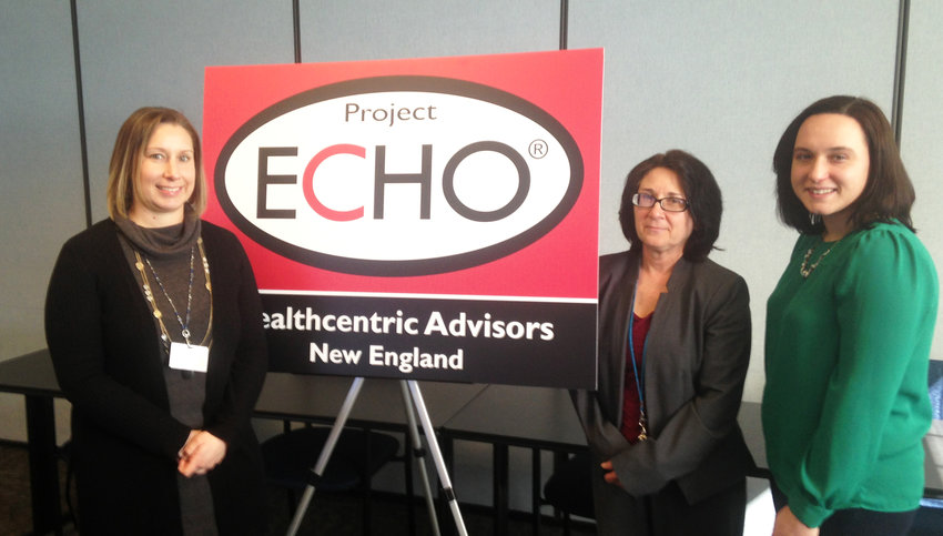 Members of the Healthcentric Advisors Project ECHO team. From right, Stephanie Baker, program manager and facilitator; Cindy Stephanopoulus, clinic education coordinator and facilitator; and Ann Marie Day, clinic education coordinator and facilitator.