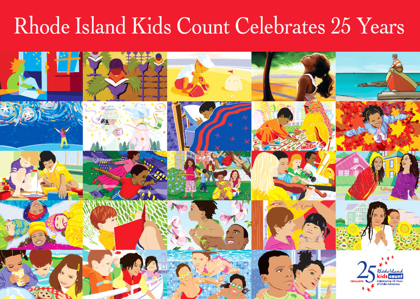 A depiction of all the covers from 24 of the 25 years of the Rhode Island Kids Count Factbook. The 2019 Factbook cover will not be revealed until the actual breakfast celebration.