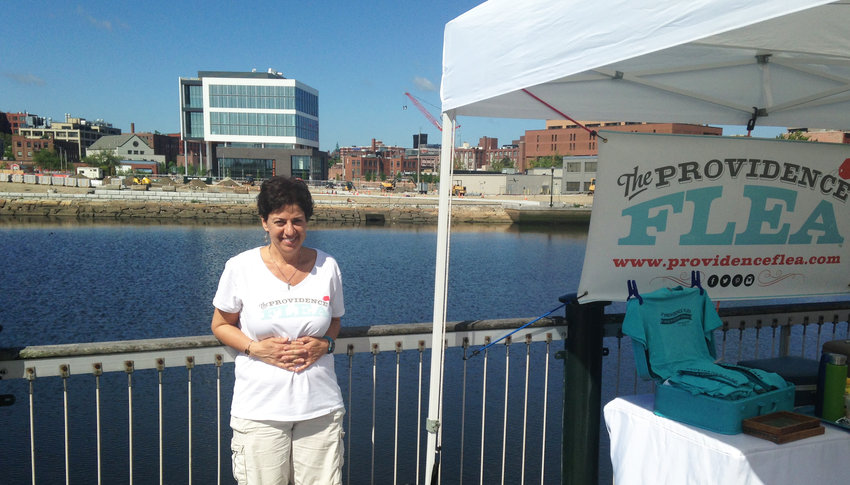 Maria Tocco, the founding entrepreneur behind Providence Flea, with the soon to be completed Wexford Innovation Complex in the background.