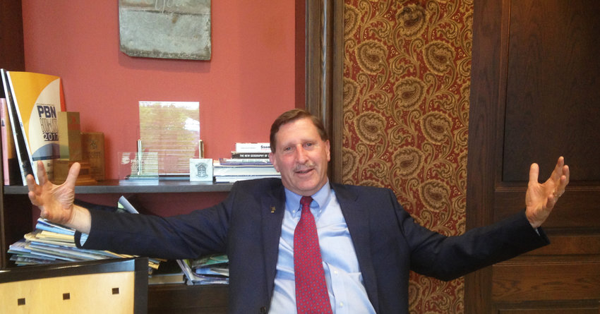 Neil Steinberg, president and CEO of the Rhode Island Foundation, being demonstrative during the interview with ConvergenceRI.