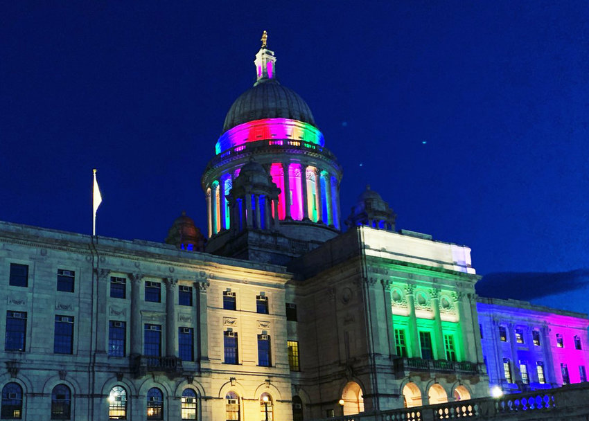 The night before the Pride 2019 celebration, the State House was illuminated with rainbow colors. Open Door Health, the first LGBTQ health care center in Rhode Island, is scheduled to open in the fall of 2019.
