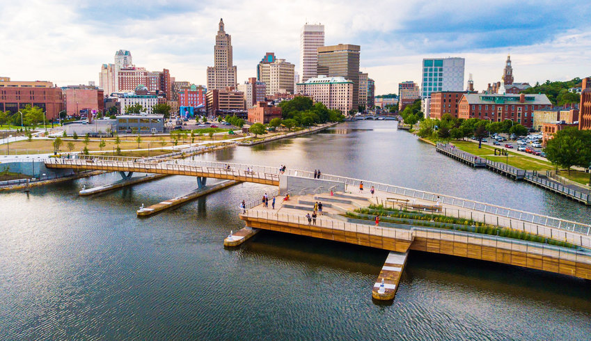 The landscape of the Providence skyline and the new pedestrian bridge, now open to pedestrians.
