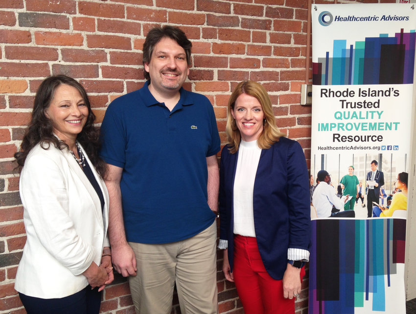 The team at Healthcentric Advisors managing a national grant to tackle high blood pressure in seniors with innovative blood pressure monitoring technology. From left, Brenda Jenkins, senior program administrator, Bryan Los, technology developer, and Lauren Capizzo, director of practice transformation.
