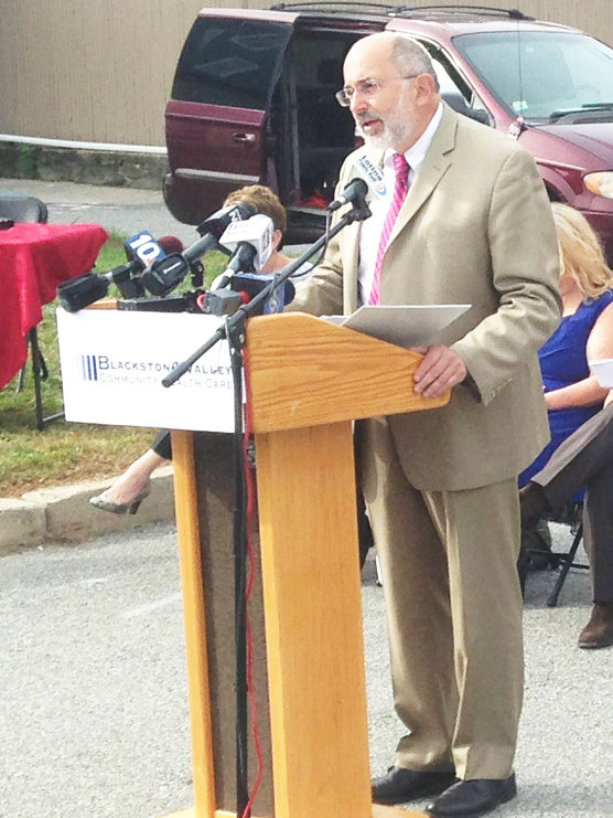 Dr. Michael Fine speaking at the 2016 groundbreaking of the Neighborhood Health Station in Central Falls.