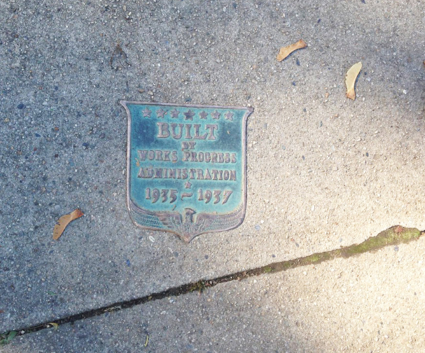 An example of a sidewalk segment built 84 years ago as part of the WPA program in Providence.