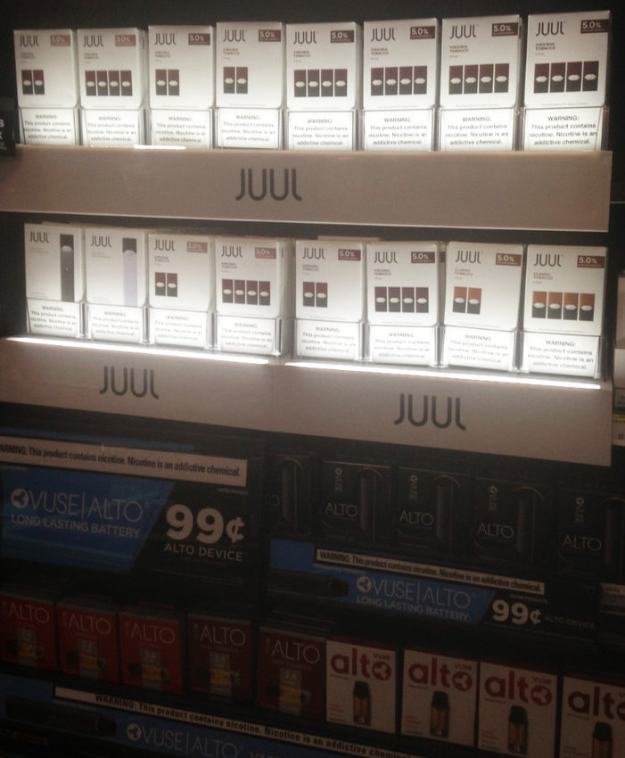 Vaping supplies at a local convenience story in Providence.