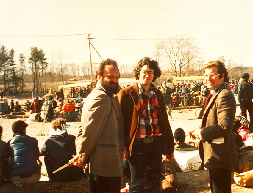At the Seabrook, H.H., occupation on May 1, 1977, as the arrests begin. From left, Paul Langner, The Boston Globe, Richard Asinof, The Valley Advocate, and John Kifner, The New York Times