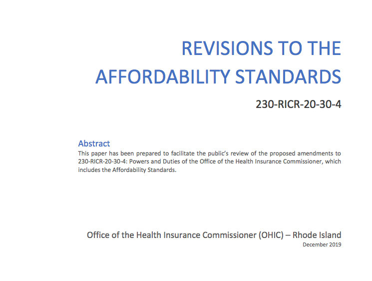 The cover of a 53-page white paper by OHIC on revisions to the Affordability Standards.