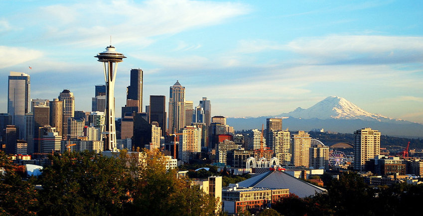 Image of the city of Seattle looking east toward Mt. Rainier. The region became the first U.S. epicenter of the coronavirus.