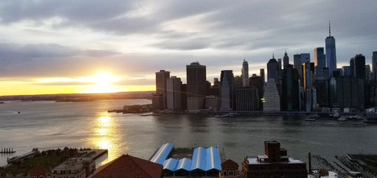The sun sets over New York City on April 3, the epicenter of the COVID-19 pandemic, in an image captured by reporter Laurie Garrett.