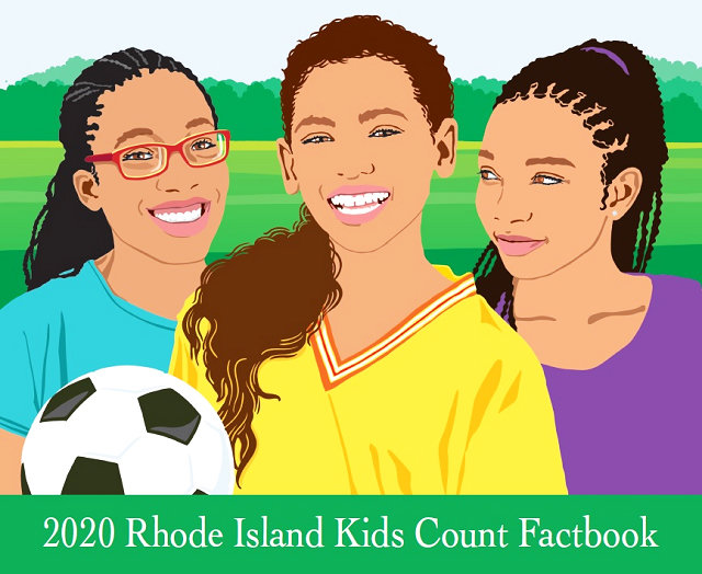 The cover of the 2020 Rhode Island Kids Count Factbook.