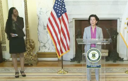 Gov. Gina Raimondo conducts her news briefing at the State House on Saturday, May 9.