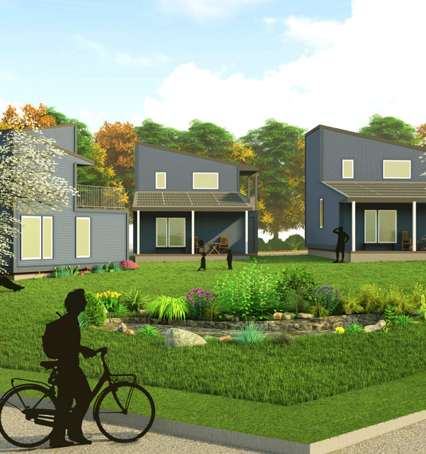 A simulation of what the Sheridan Small Home Project will look like in Olneyville when it is completed in the fall of 2020.