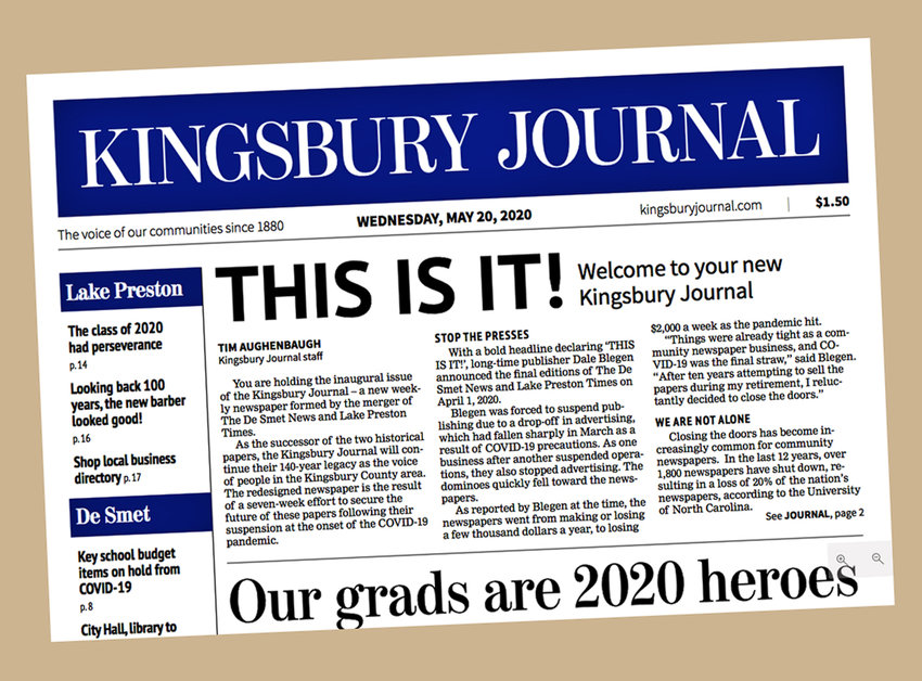 The inaugural issue of The Kingsbury Journal, published on May 20, merged two community weeklies in South Dakota in an effort coordinated by Creative Circle Media Solutions.
