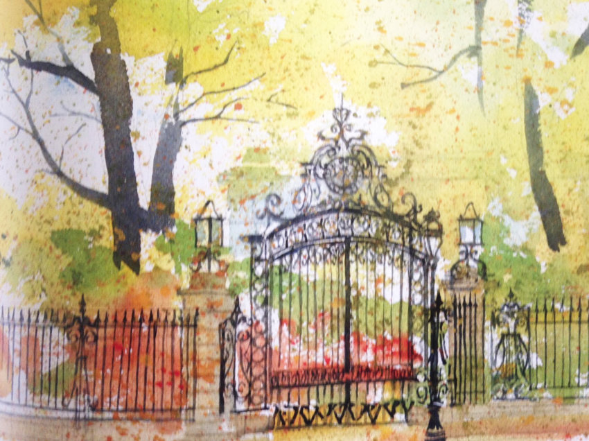 """""""Gates on Bellevue Avenue,"""" an image of a water color painting by Richard Grosvenor, an image from his book, Newport: An artist's impressions of its architecture and history. The North End of Newport has roughly a 7 percent tree canopy, compared with 49 percent for the rest of Newport, according to a data analysis by the Newport HEZ."""