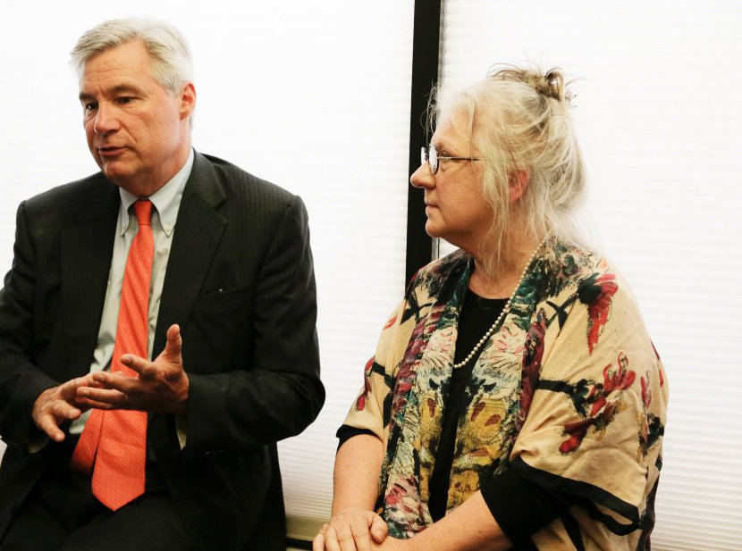 Linda Hurley, right, president and CEO of CODAC, with Sen. Sheldon Whitehouse