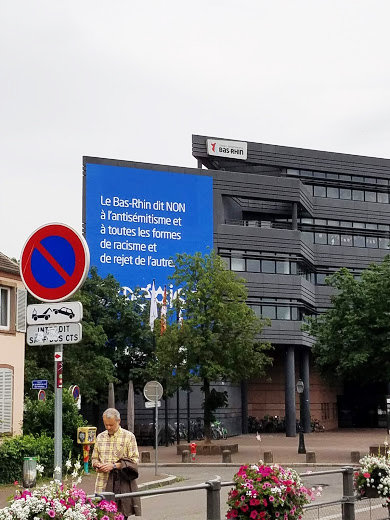 "A billboard in the French city of Strasbourg, which proclaimed ""no"" to anti-Semitism and all forms of racism and the ejection of ""the other."""