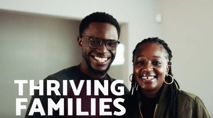 """A family featured in a recent YouTube video produced by ONE Neighborhood Builders, entitled, """"Building Opportunity Through Homes + Health."""""""