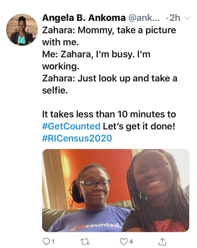 A tweet from Angela Ankoma, promoting how easy it is to get counted by the Census.