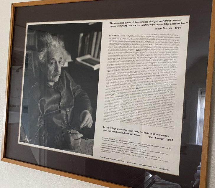 A poster advertising the March 30, 1980, nonviolent vital action by the Vermont Yankee Decommissioning Alliance, which featured a photo by Lotte Jacobi of Albert Einstein and two of his quotes, as well as a history of the problems with the plant, which when it began operation in 1972, was struck by lightning.