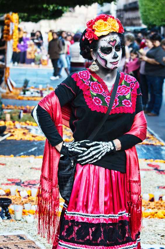 Traditional costume at the Day of Dead celebration in Mexico City