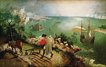 """The painting by Pieter Bruegel the Elder, """"Landscape with the Fall of Icarus,"""" depicting a farmer plowing his fields, oblivious to the drama of Icarus plunging into the sea and drowning after flying too close to the sun and having his waxen wings melt, illustrates how we are often distracted by the everyday struggles in our lives."""