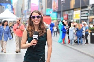 """Molly O'Brien n sunglasses in New York City in 2019 as part of the Association Migraine Disorders' """"Shades for Migraine' campaign to raise migraine awareness."""