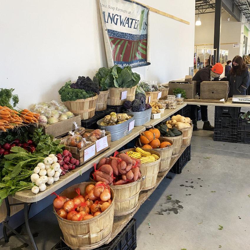 Fresh produce on display at the farmers market at the new Farm Fresh RI facility in Providence.