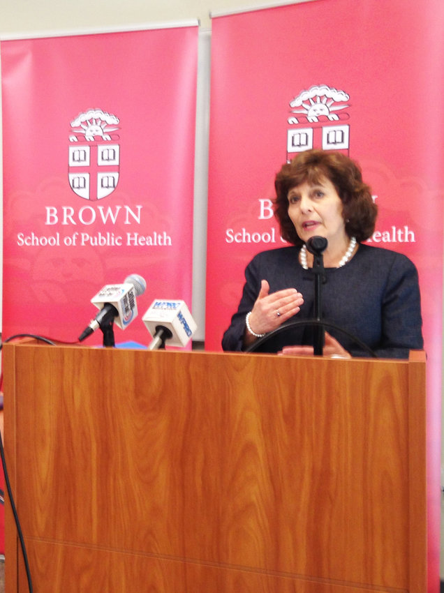 Marie Ganim, R.I. Health Insurance Commissioner, speaks at the 2019 announcement of a compact to limit the growth of health care spending in Rhode Island.