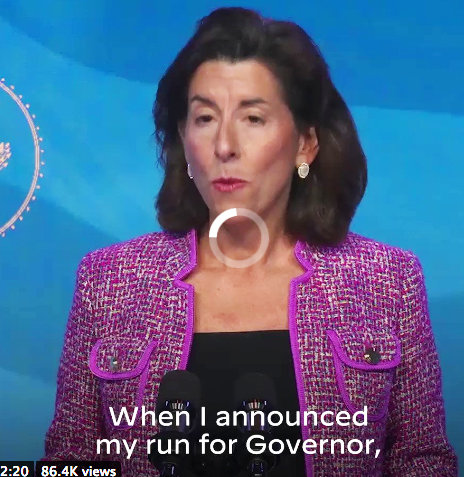 Gov. Gina Raimondo, speaking  after being formally introduced by President-elect Joe Biden, who has asked her to serve as his Commerce Secretary
