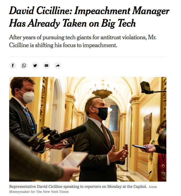 A screen shot of the online version of the New York Times story on Rep. David Cicilline.